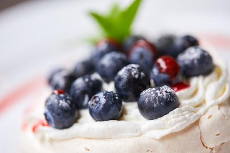 meringue dessert with fresh berries