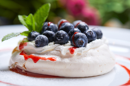 meringue dessert with fresh berries