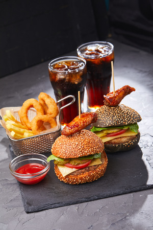 burgers with beer Stock Photo