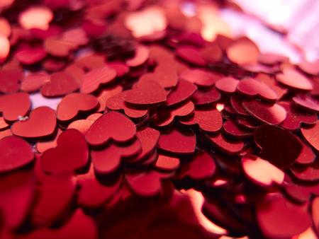 red hearts confetti Archivio Fotografico