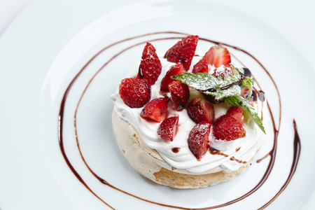 Strawberry pavlova cake Stock Photo