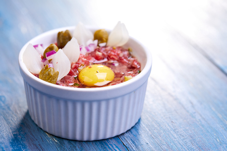 beef tartare with egg