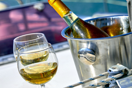 white wine on the yacht