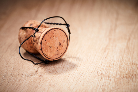 Champagne cork on the wooden table Stock Photo