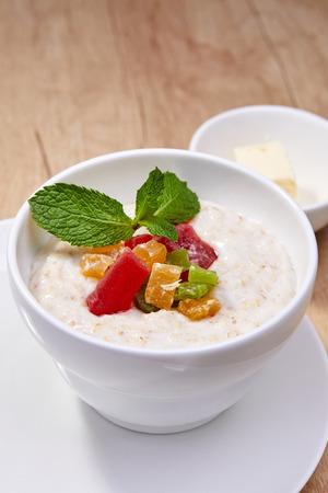 Breakfast with oat porridge Stock Photo