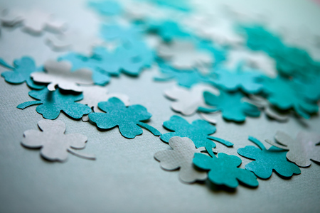 leaves of clover shape cut from paper