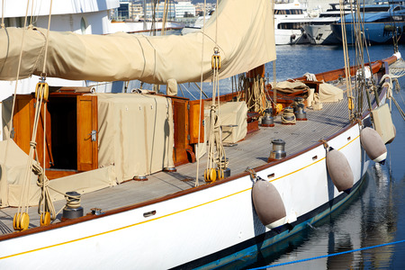 Luxury yacht tackle during the sea voyage