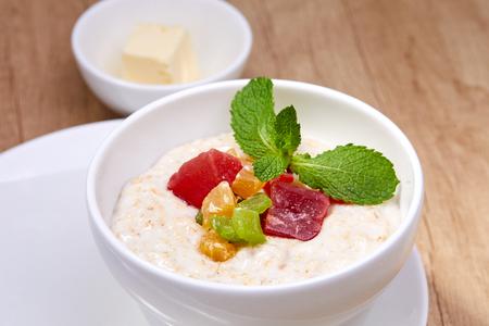 breakfast with oat porridge