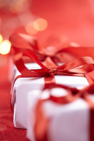 presents with red ribbons for Valentine day