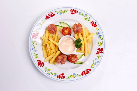 french fries, vegetables and sauce, kids menu