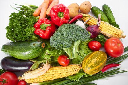 fresh vegetables on the white background, zero waste concept