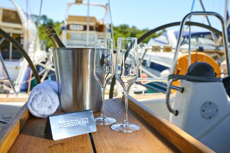 Romantic luxury evening on cruise yacht with champagne setting.