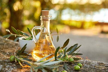 Olive oil and olive berries with leaves outdoor Reklamní fotografie