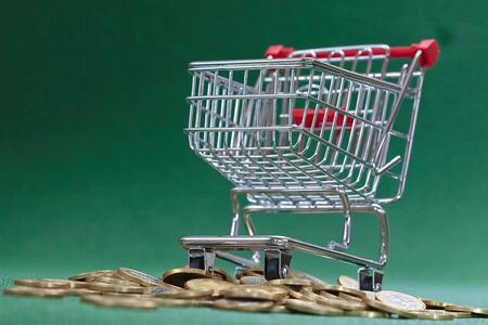 coins under shopping basket, green background
