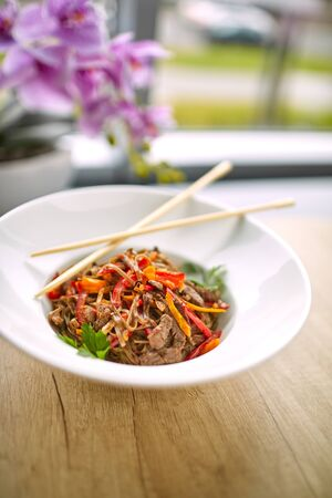 Stir fry noodles soba with beef