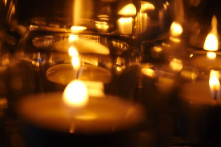candle lights on the dark background Stock Photo