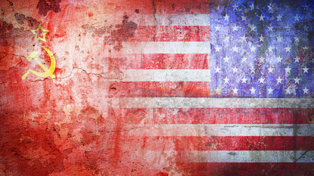 military and war icons: concept Cold War flag grunge vintage retro styl