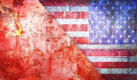 cold war: concept Cold War flag grunge vintage retro styl