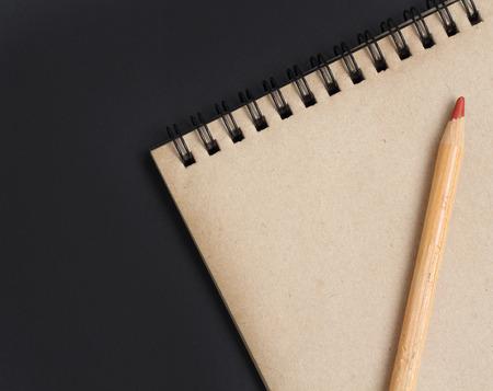 vintage notebook pencil Stock Photo