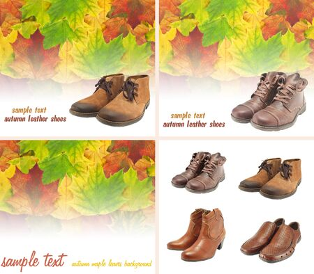 leather shoes for men and women, isolated on white background Stock Photo