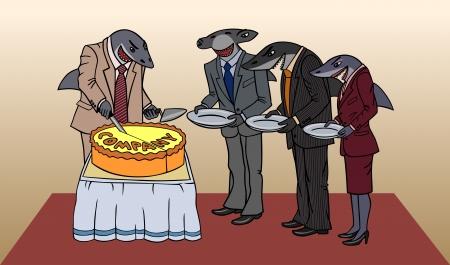 hammerhead shark: caricatura representa a los accionistas