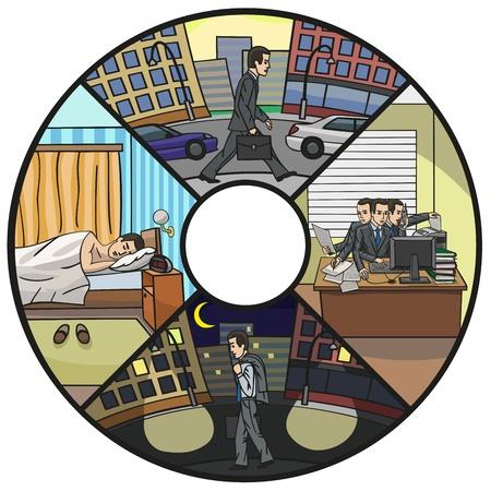 仕事中毒の生活  イラスト・ベクター素材