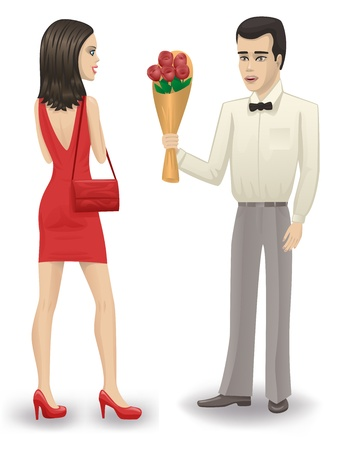 admirer: Man giving his girlfriend a bouquet of roses  Illustration