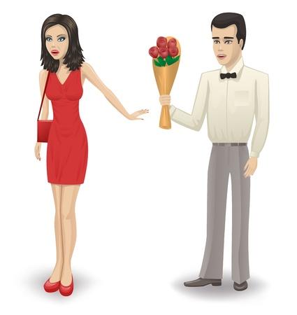 abandono: El hombre da a una ni�a de un ramo de rosas La chica se niega