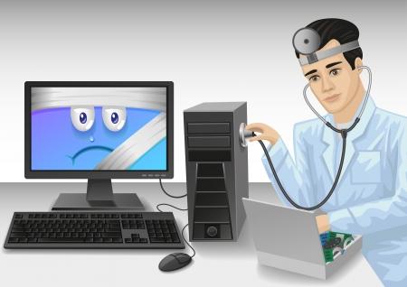 예비의: 컴퓨터 전문가가 문제를 진단하고 컴퓨터에게 수리