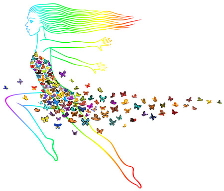 Flying girl in the dress of many butterflies  Vector