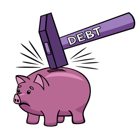 eliminating: Breaking the piggy bank  Illustration