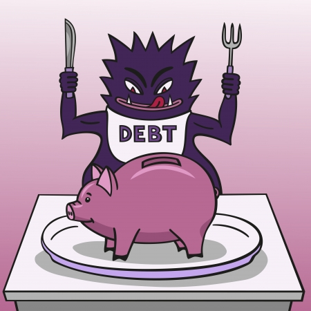 travesty: Debt and piggy bank