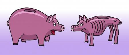dearth: Two piggy bank  Illustration