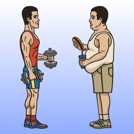 adiposity: Sportsman and fat man