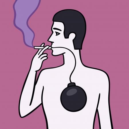 hombre fumando puro: Fumador  Vectores