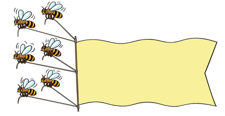 Bees with banner  Illustration
