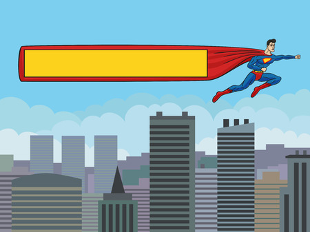 Superman flying over the city and drags banner  Format 3 4  standard screen monitor