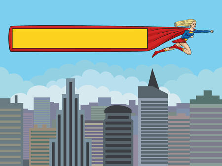Girl superhero flying over the city and drags banner  Format 3 4  standard screen monitor
