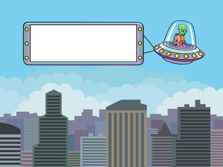 UFO flying over the city and drags banner  Format 3 4  standard screen monitor