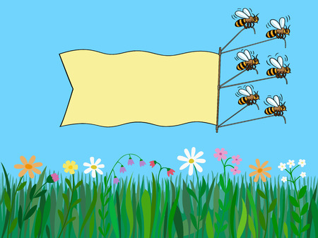 Bees fly over the grass and pull behind a banner  Format 3 4  standard screen monitor   Illustration