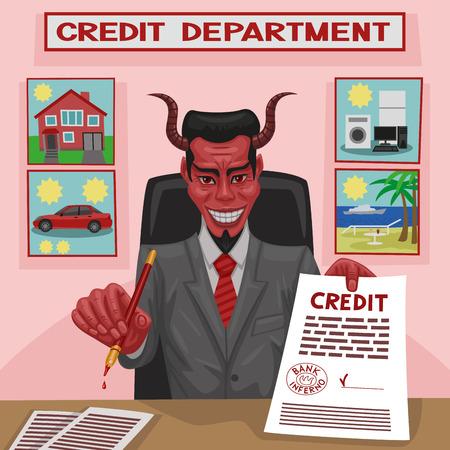 De duivel biedt krediet voor behoeften van de consument voor de klant Stock Illustratie