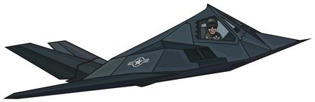 Cartoon stealth F-117  Nighthawk   Ilustrace