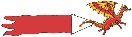 Dragon with banner  Illustration