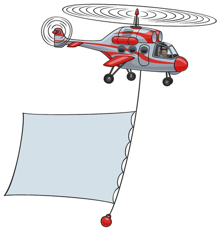 helicopter pilot: Helicopter with banner  Illustration