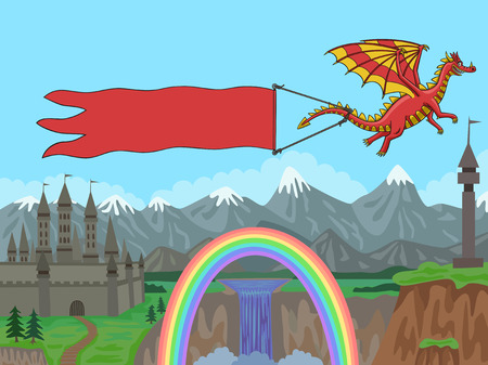Dragon flying over the mountains and pulls a banner