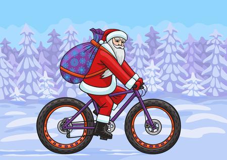 Santa on a  fatbike  Vector