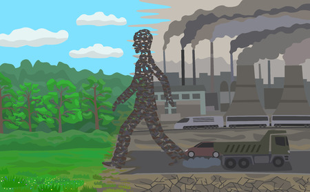 urban sprawl: Pollution  illustration concept