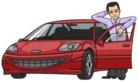 carro caricatura: Automovilista. Vectores