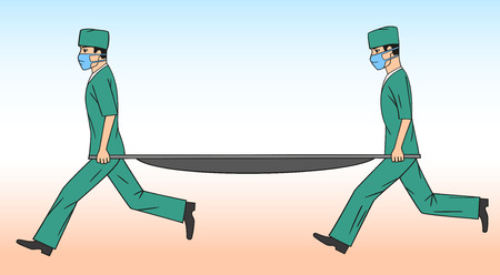 stretcher: Physicians with a stretcher.