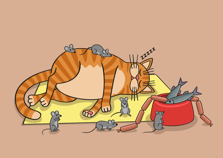 travestie: Luie kat. Stock Illustratie